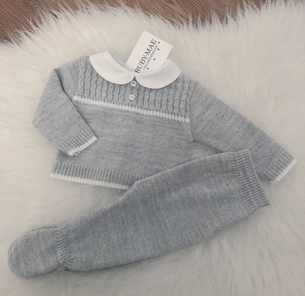 Grey With White Long Leg Knitted Two Piece - Mason