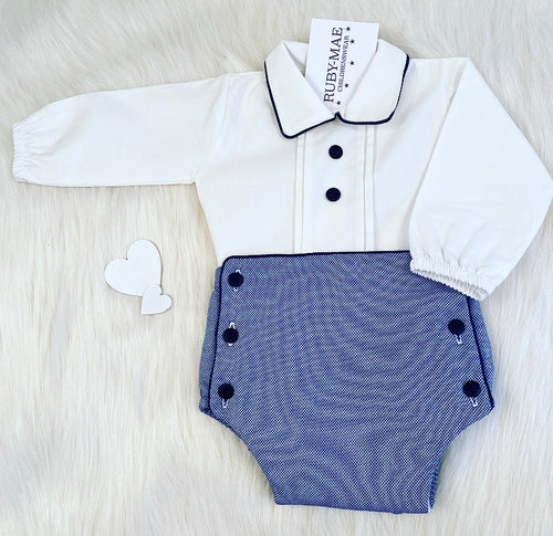 PREMIUM White & Navy Shirt & Shorts Outfit Set - Max