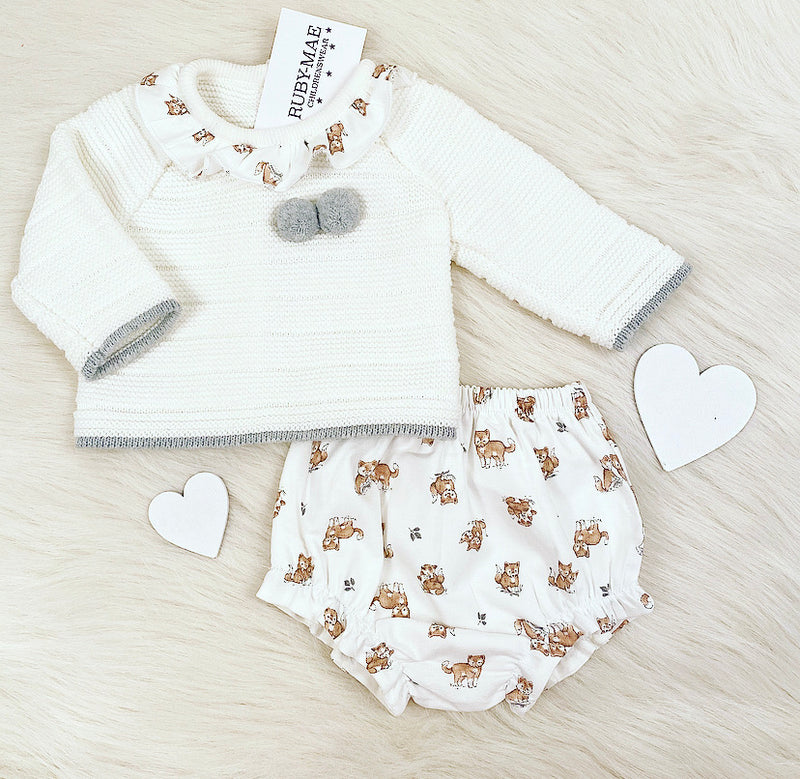 White With Dog Print Knitted Jumper & Bloomers Outfit - Sally