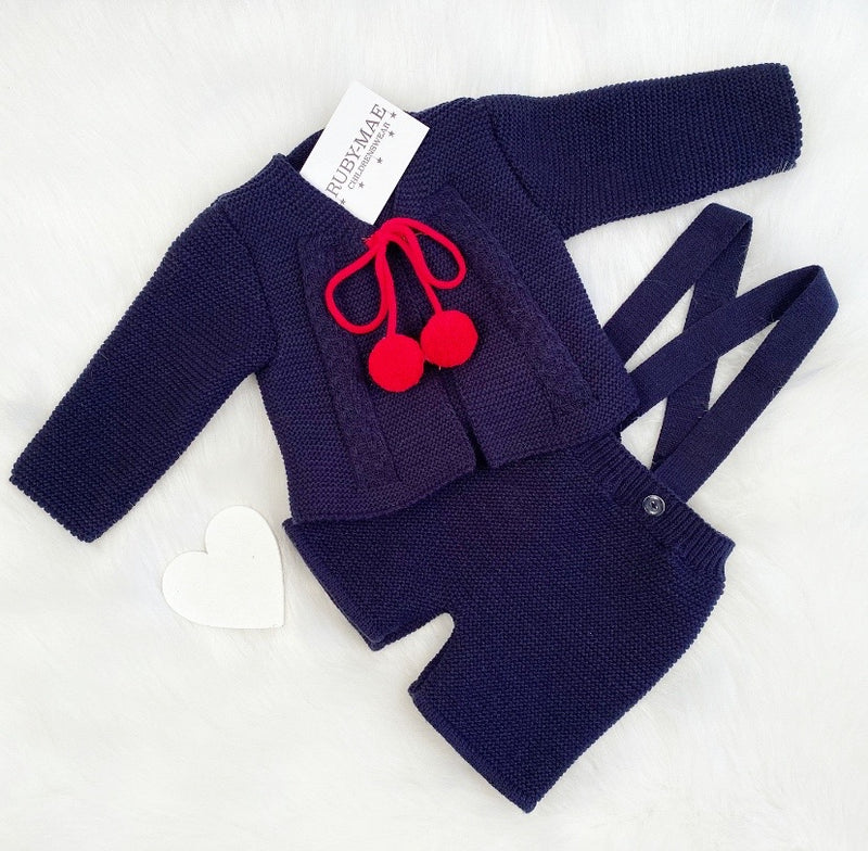 Navy Knitted Jacket With Dungaree Shorts - Tomy