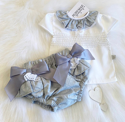 PREMIUM Grey Smock Blouse With Matching Bow Jam Pants Outfit - Kimmie