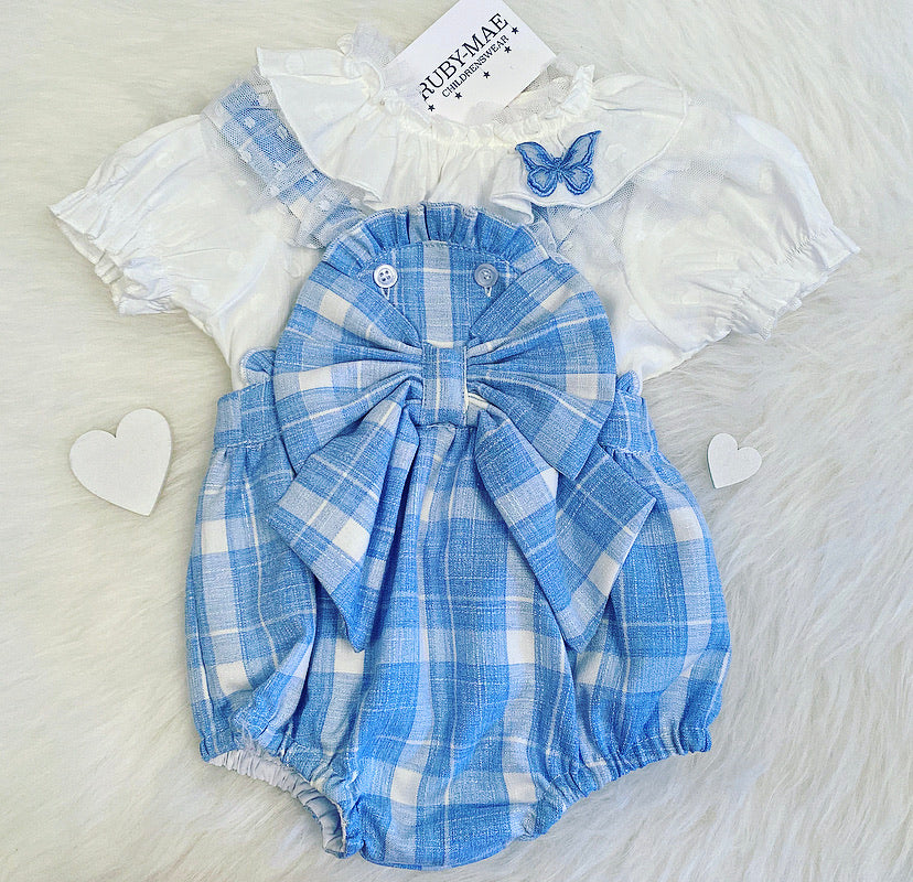 PREMIUM Blue Check Bow Front Dungaree Romper With Lace Detailing Top - Elizabeth