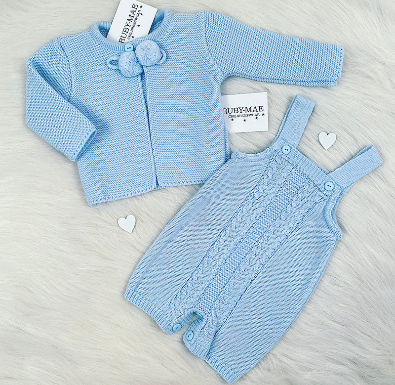 Blue Knitted Dungaree Shorts With Matching Pom Pom Jacket Outfit - Henry