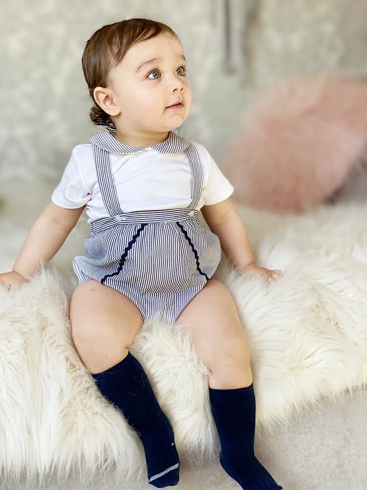 Navy And White Stripe Dungaree Outfit Set - Bentley