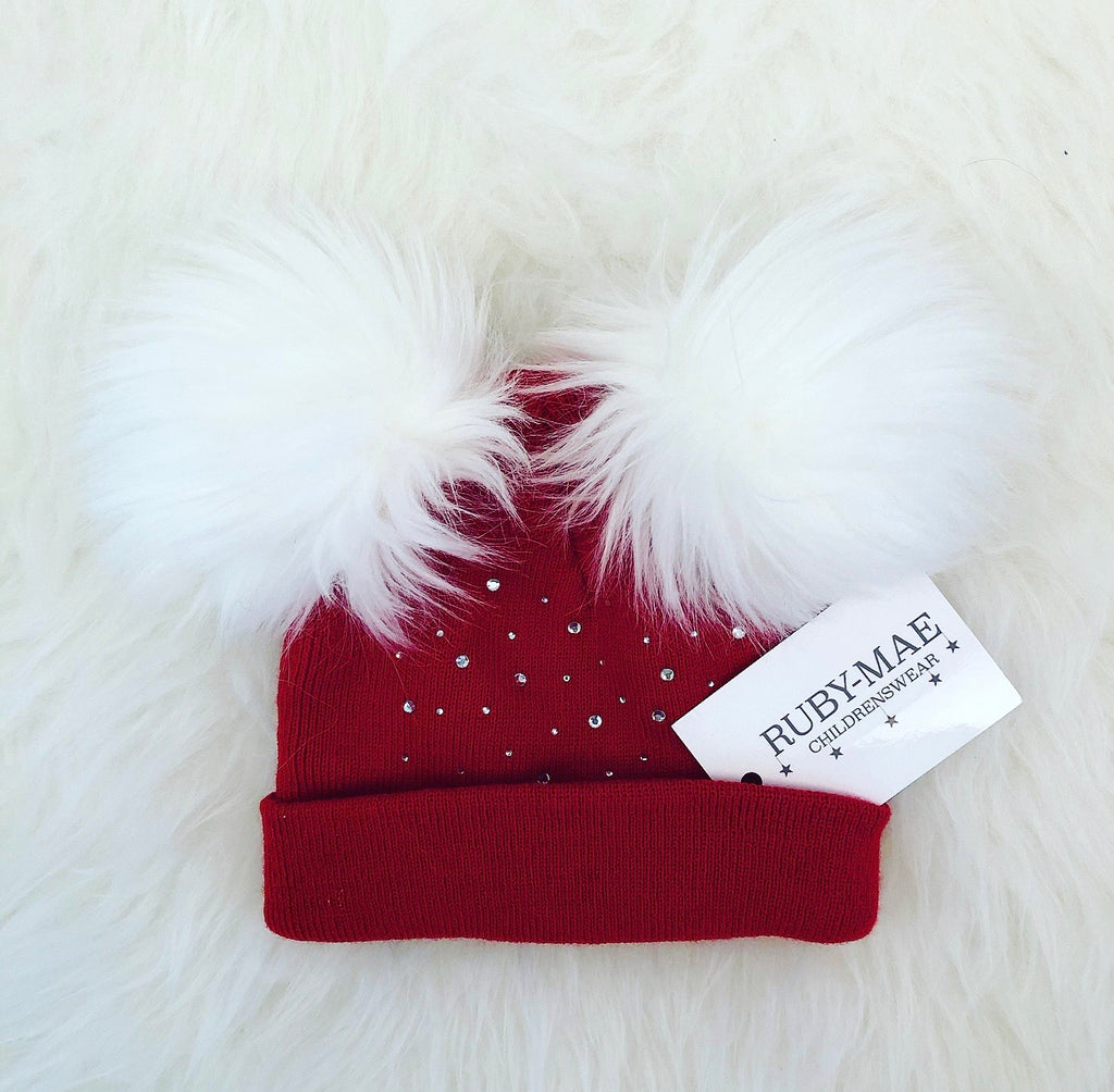 Wine Diamanté Faux Fur Pom Pom Hat