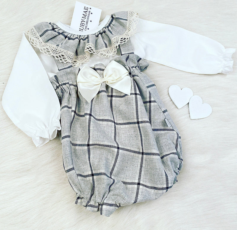 PREMIUM Grey Check Frill Neck Blouse With Matching Dungaree Romper Set - Elizabeth
