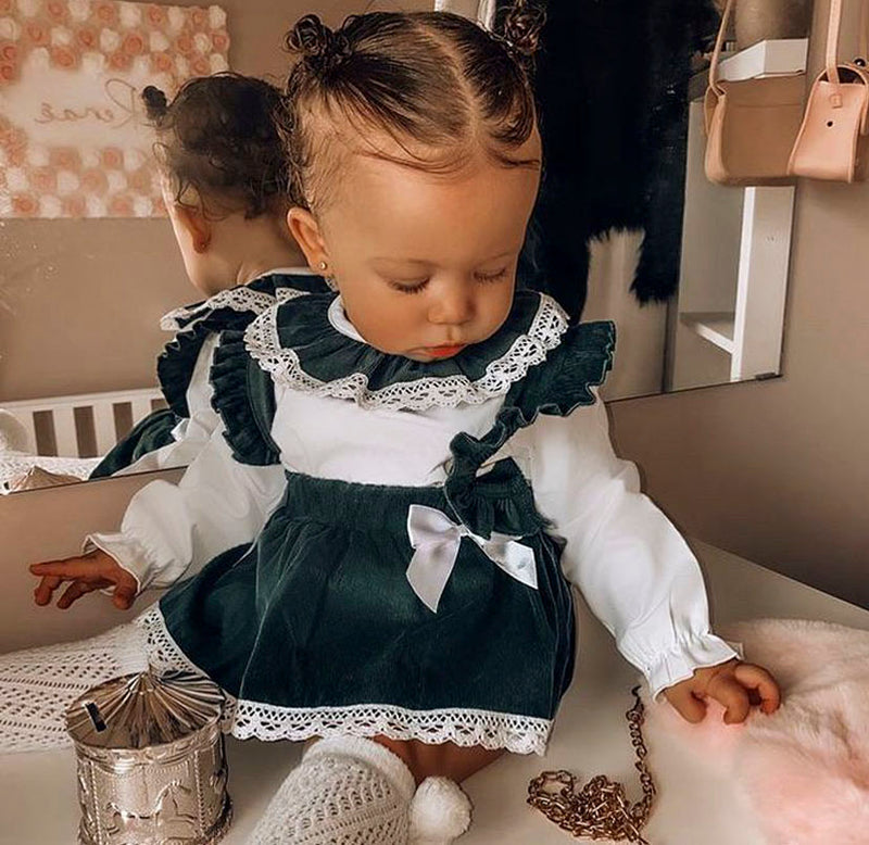 PREMIUM Emerald Green Bow Front Blouse With Matching Dungaree Tutu Skirt With Attached Bloomers Outfit - Molly