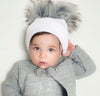 White Ribbed Knitted Double Pom Pom Hat