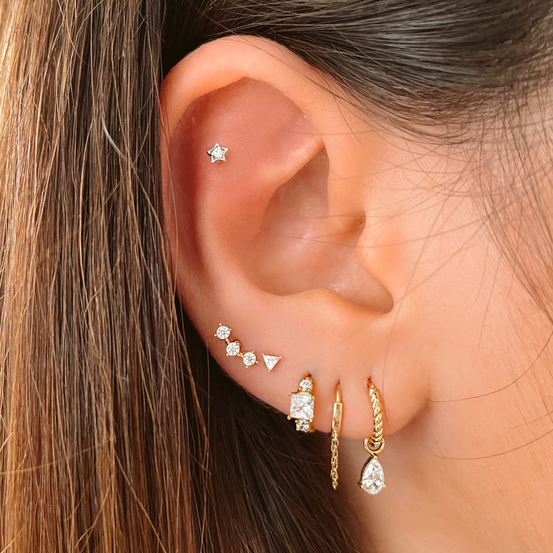 14k Tiny Triangle Crystal Barbell Earrings - Piercing Studs