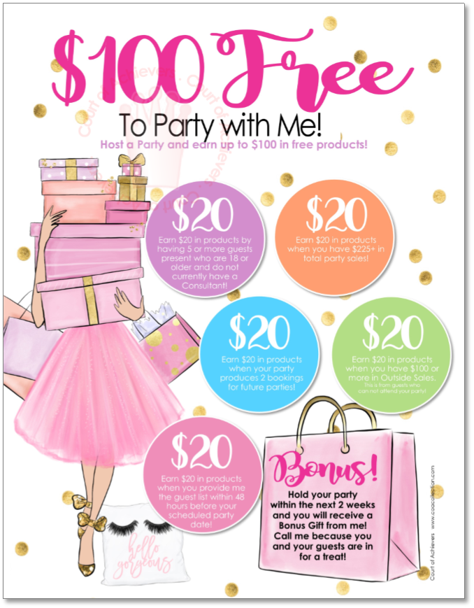 $100 Free to Party with Me Postcard
