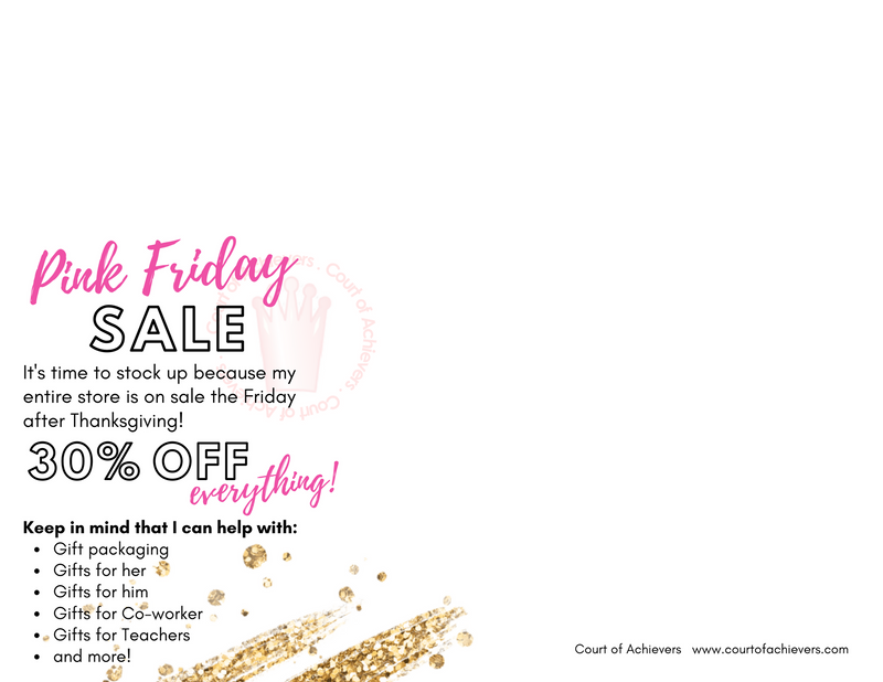 30% Off Everything Pink Friday