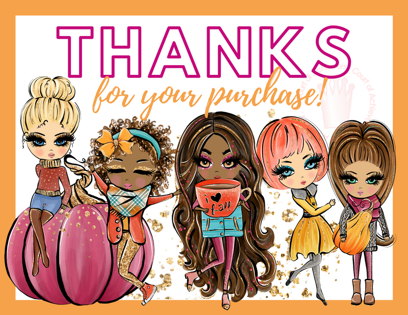Fall Dolls Thanks for your Purchase Postcard