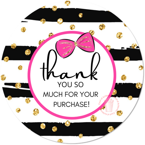 Pink Bow Thank You Sticker