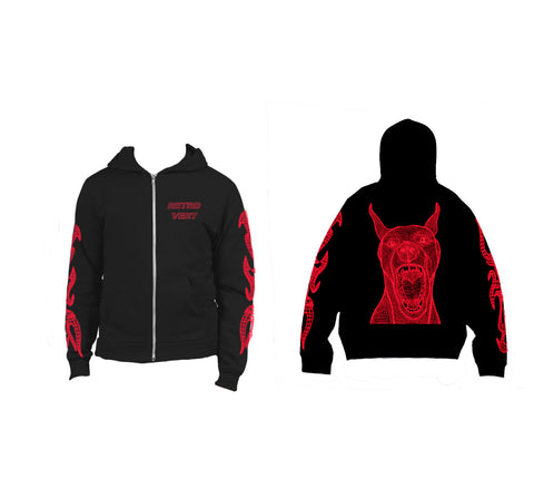 Red Doberman Full-Zip Hoodie - Medium Weight