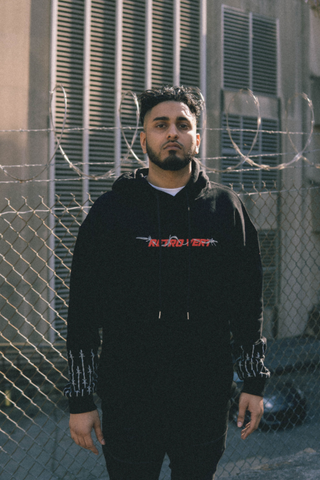 Oversized 3D Barbed Wire Hoodie - Black
