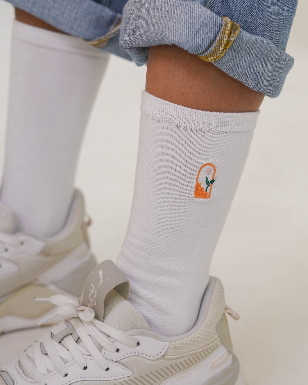 FCS EVERYDAY: RISE Crew Socks (White)