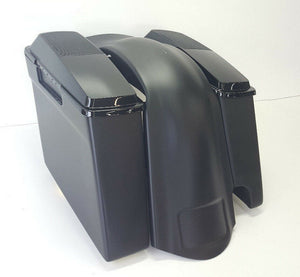 "Harley 4"" Saddlebags Rear Fender 2-1 Cutout 6x9 Lids - Backyard Air Suspension & Innovations, LLC."