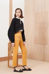 High waisted crop trouser with flap pockets