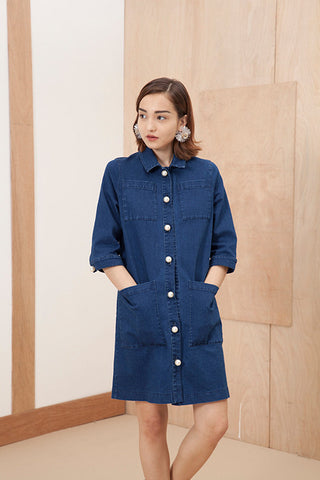 Indigo denim shirt dress with pearl buttons