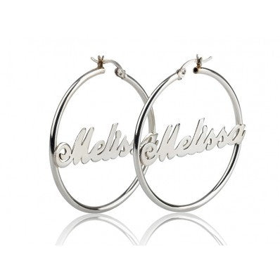Hoop Nameplate Earrings