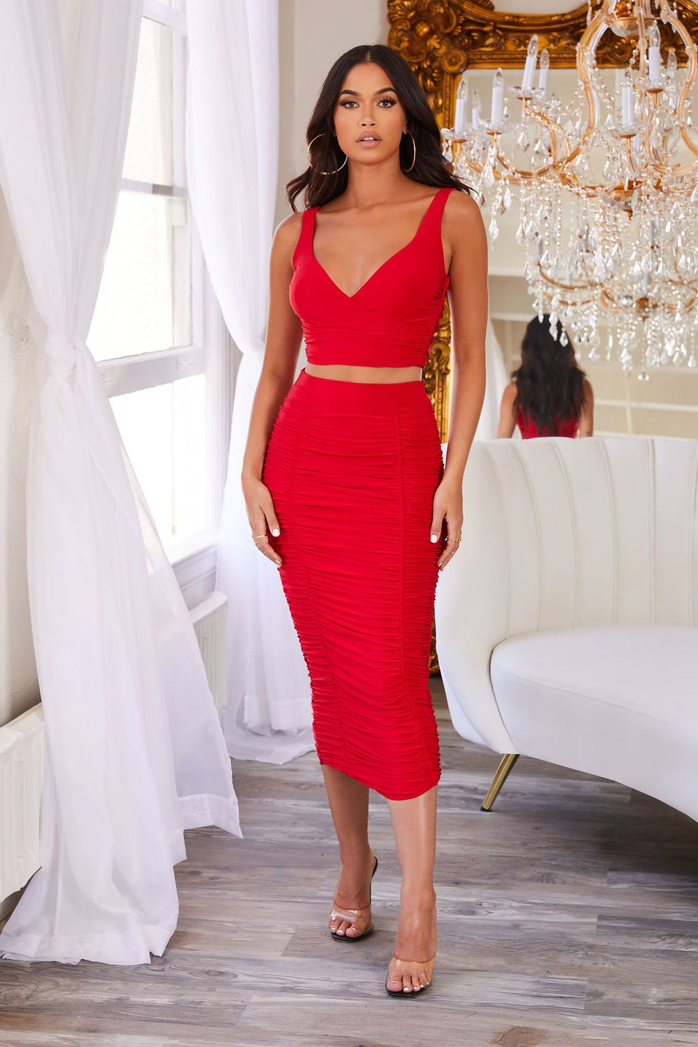 Red Sleeveless Ruched Crop Top                      – Club L London - USA