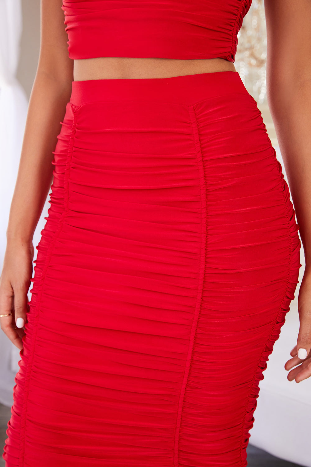 Red Ruched Panelled Bodycon Midi Skirt                      – Club L London - USA