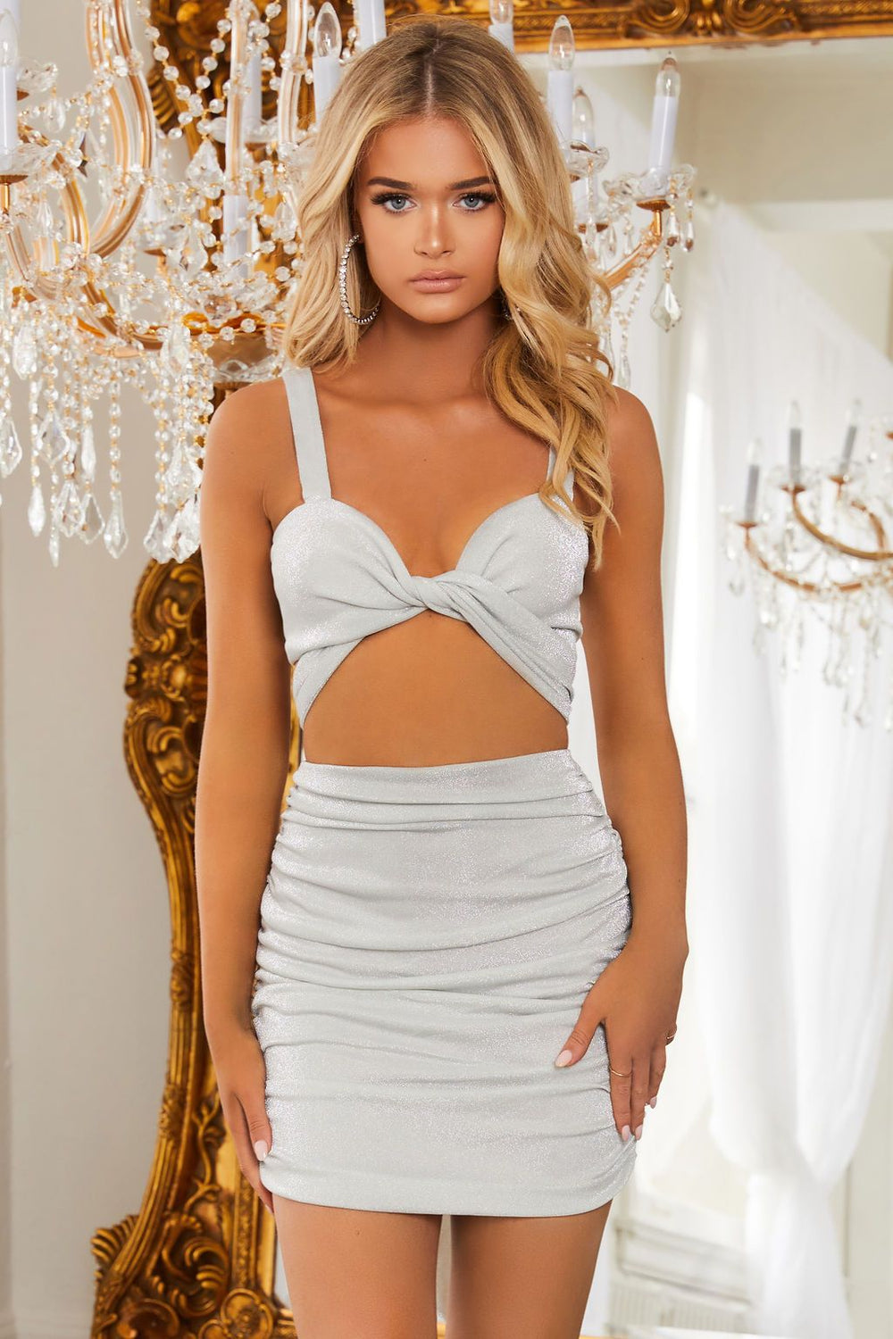 Silver Shimmer Tie Front Crop Top                      – Club L London - USA