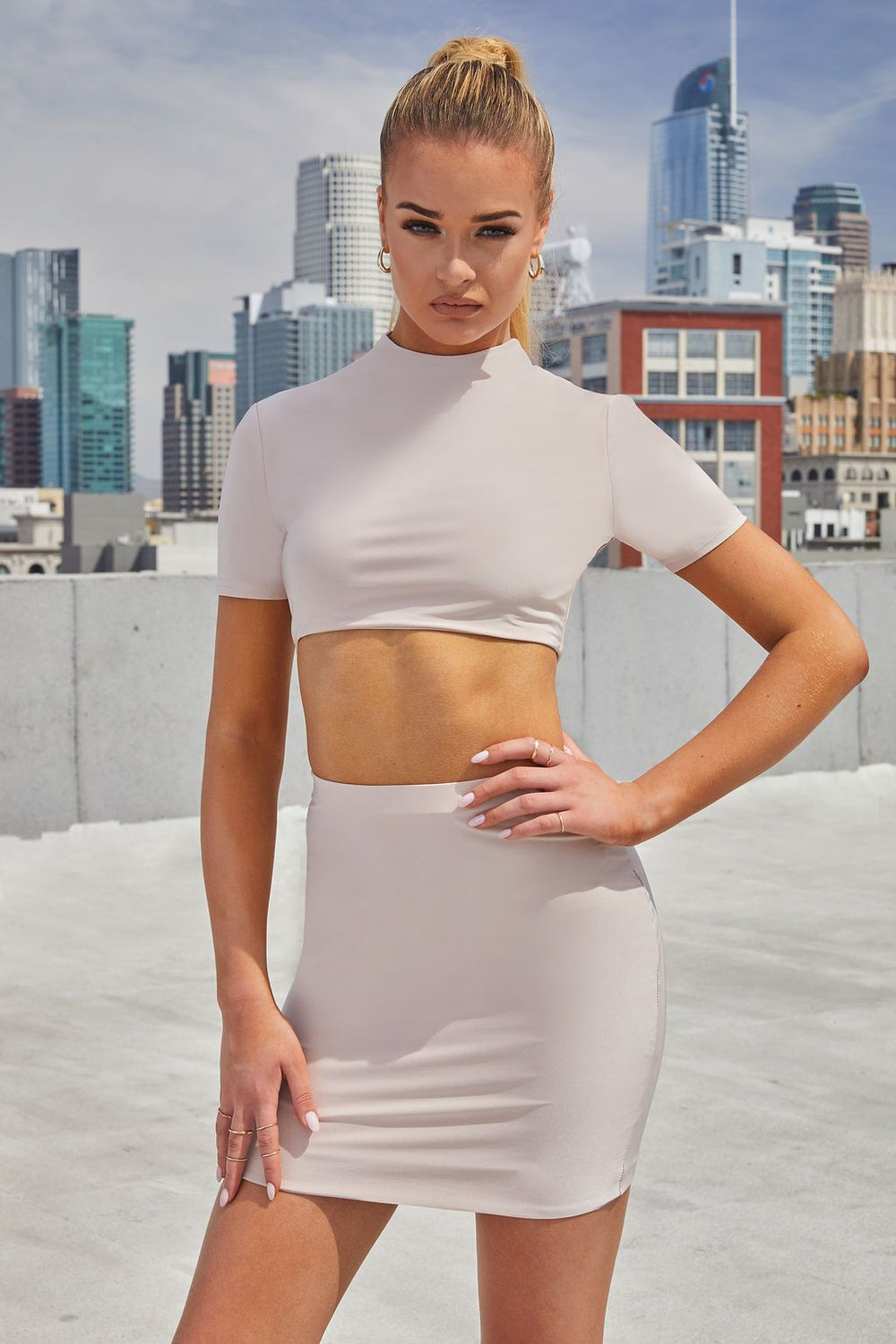 Nude High Neck Open Back Crop Top                      – Club L London - USA