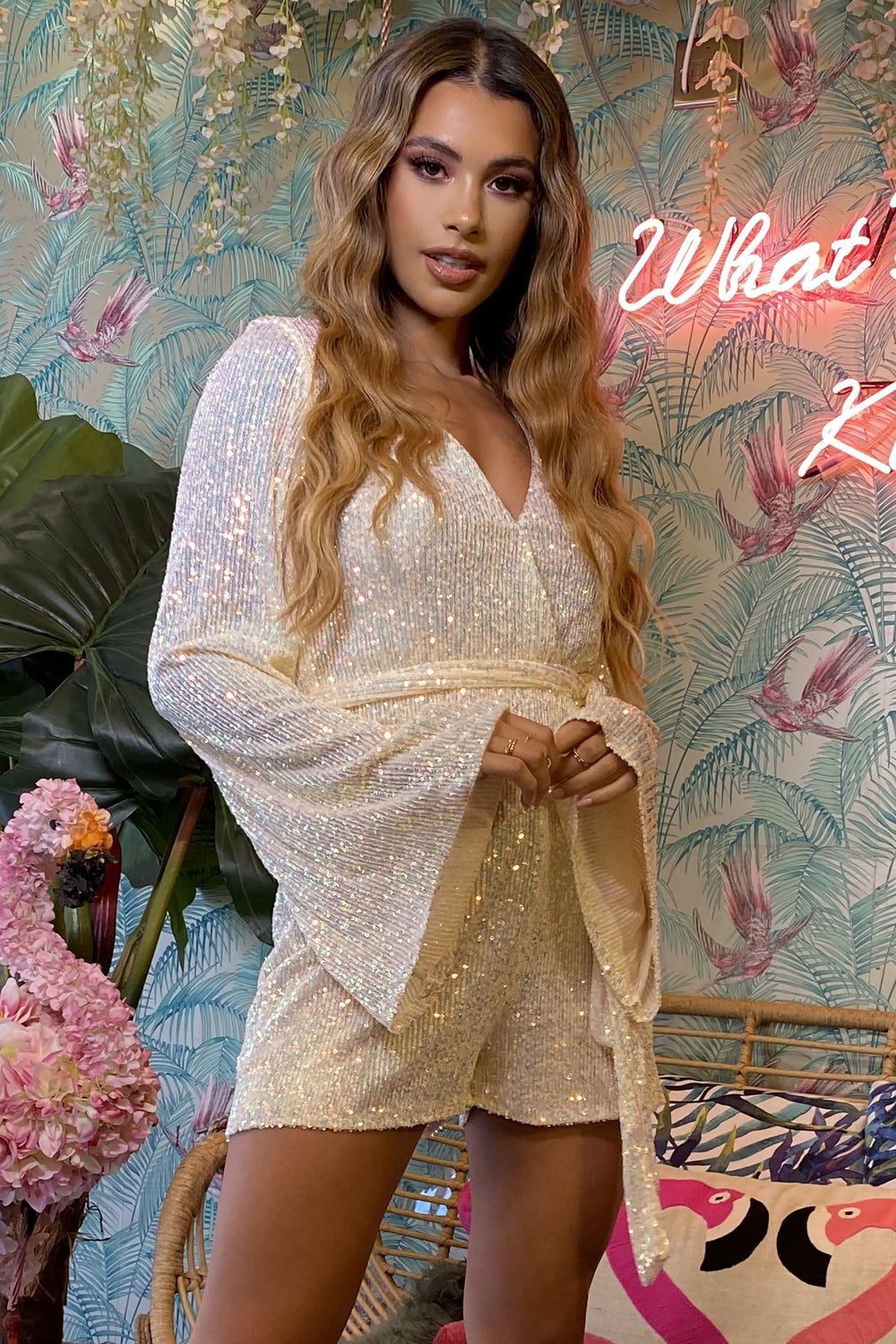 Sequin Iridescent Flared Sleeve Wrap Over Playsuit                      – Club L London - USA