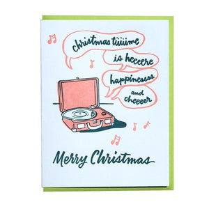 Christmas Record Player Card