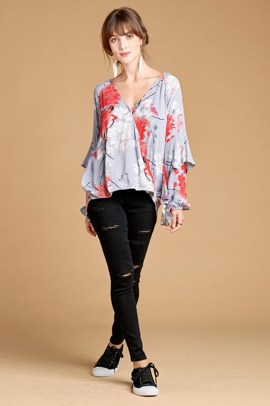 Ruffled Sleeve Faux Wrap Top