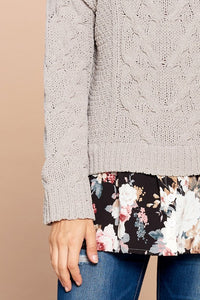 Floral Underlay Cable Knit Sweater