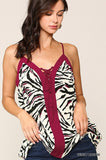 Tiger Printed Lace Up Cami Top