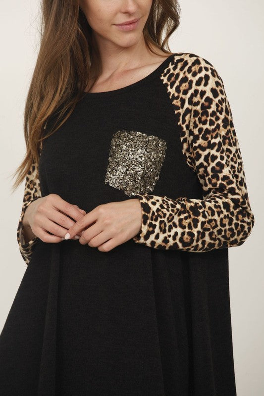 Animal Print Sequin Pocket Swing Tunic