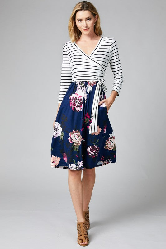 Crossover Mix Print Fit and Flare Dress