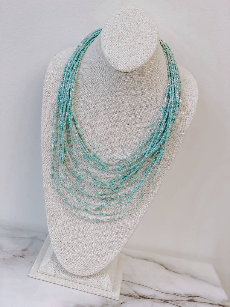 Seed Bead Multi Layer Statement Necklace