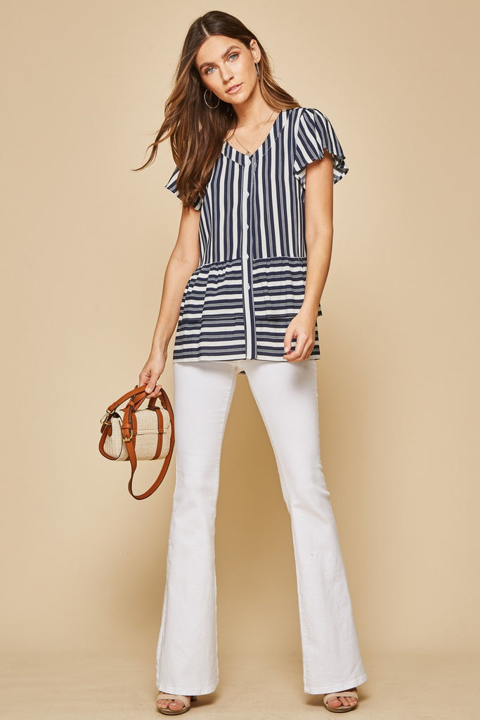 Relaxed Ruffle Button Down