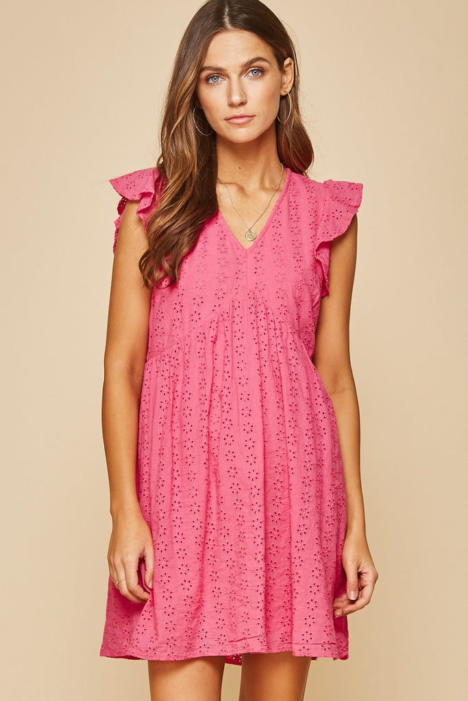 Eyelet Babydoll Dress - Hot Pink