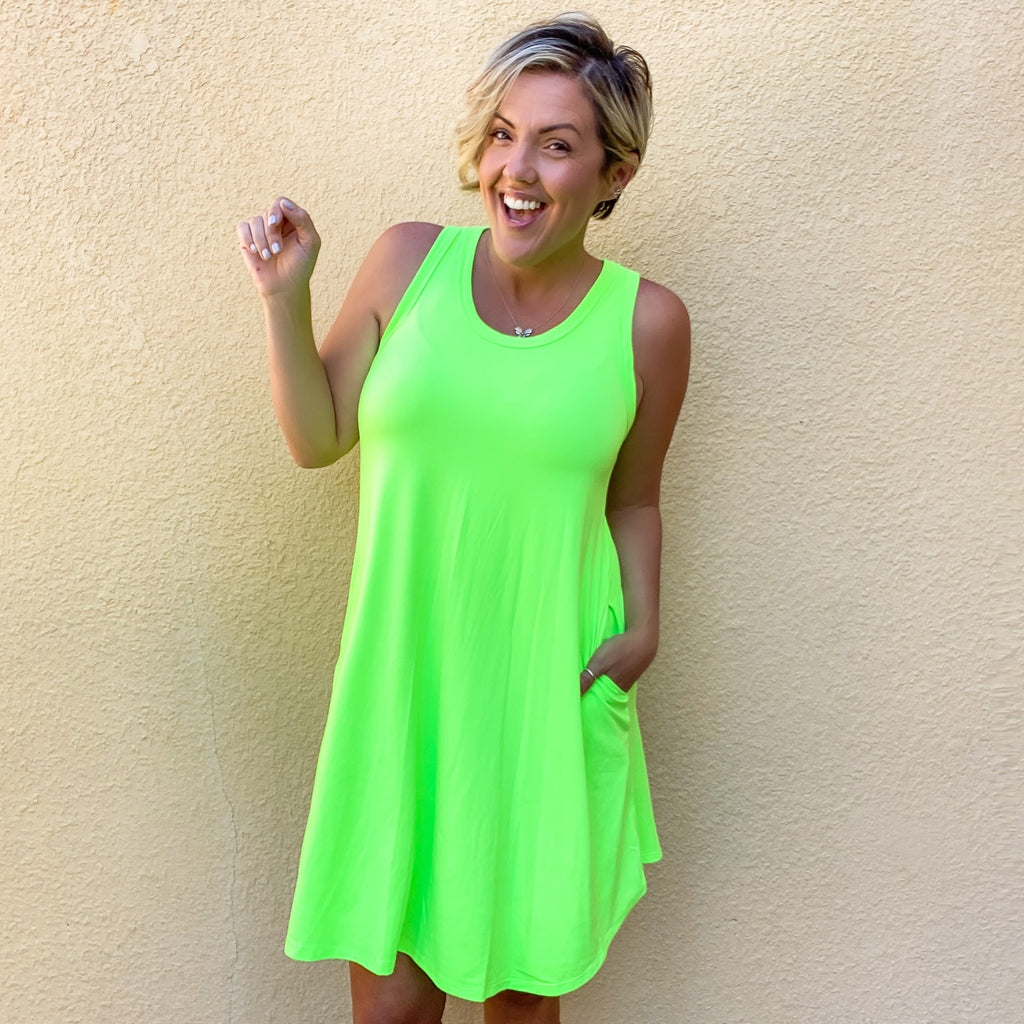 Neon Swing Dress - Green