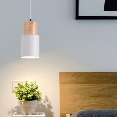 Nordic Simple Wood Pendant Lights LED Hanging Colorful Aluminum Lighting