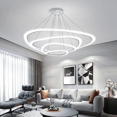 Modern Pendant Lights For Living Dining Room 4/3/2/1 Circle Rings Acrylic LED Lighting