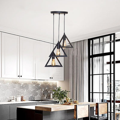 7 Type Modern Black Cage Pendant Lights Iron Minimalist Nordic Pyramid Lamp