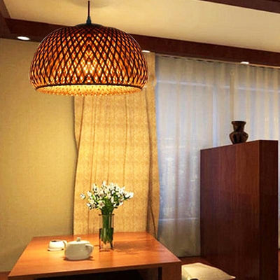 Modern Bamboo Hand Knitted Pendant Lamp For Dinning Living Room