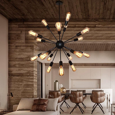 E27 Edison Bulbs Vintage Industrial Pendant Light 12/16/18/20 Head Sputnik Pendant Lamp