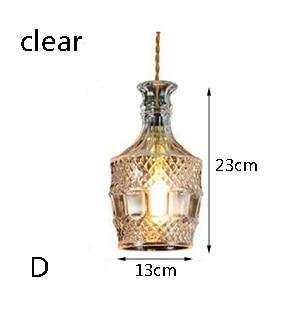 Modern Personality E27 Glass Hanging Lights Wine Bottle Engraved Pendant Lamps For Dining Room Living Room Restaurant Cafe Bar
