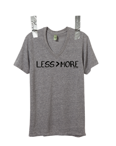 """LESS > MORE"" Unisex Vintage V-Neck • Grey"