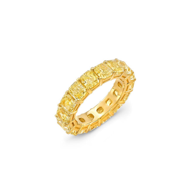 Golden Radiant Cut Eternity Ring