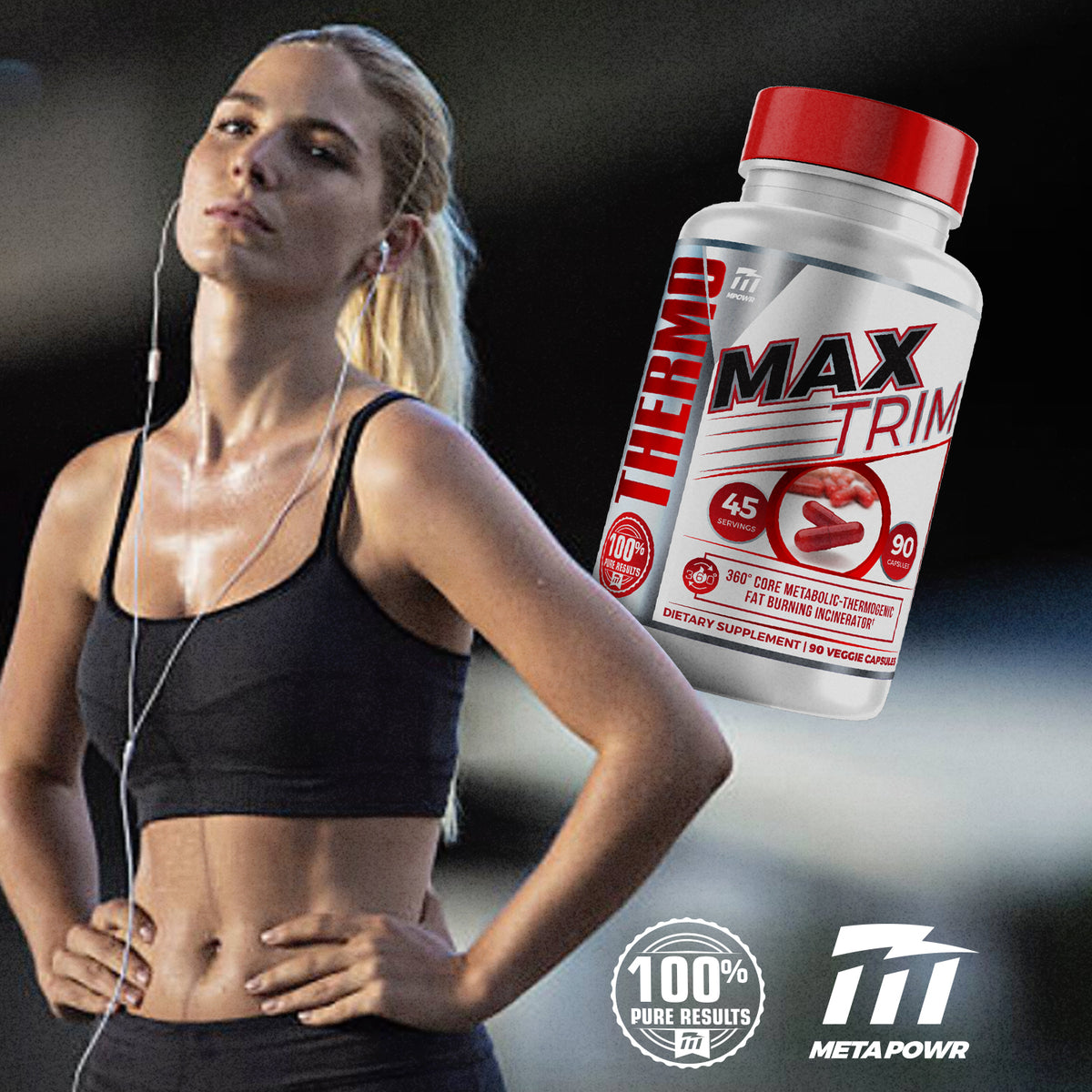 MAXTRIM THERMO BURN® THERMOGENIC FAT BURNER INCINERATOR 45 DAY SUPPLY - META POWR SPORTS®