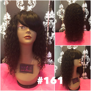 "12"", curly, full lace, straight bangs, small cap"