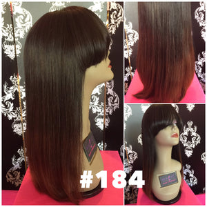 "16"", Silky Straight, Bangs, ombre, front lace"